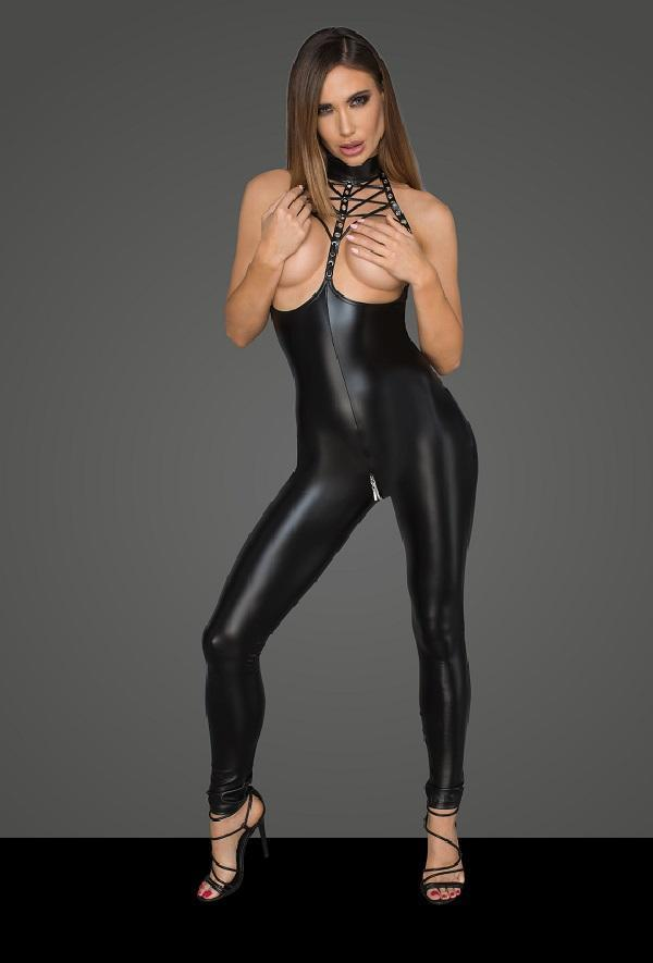 Open bust Eco leather Jumpsuit
