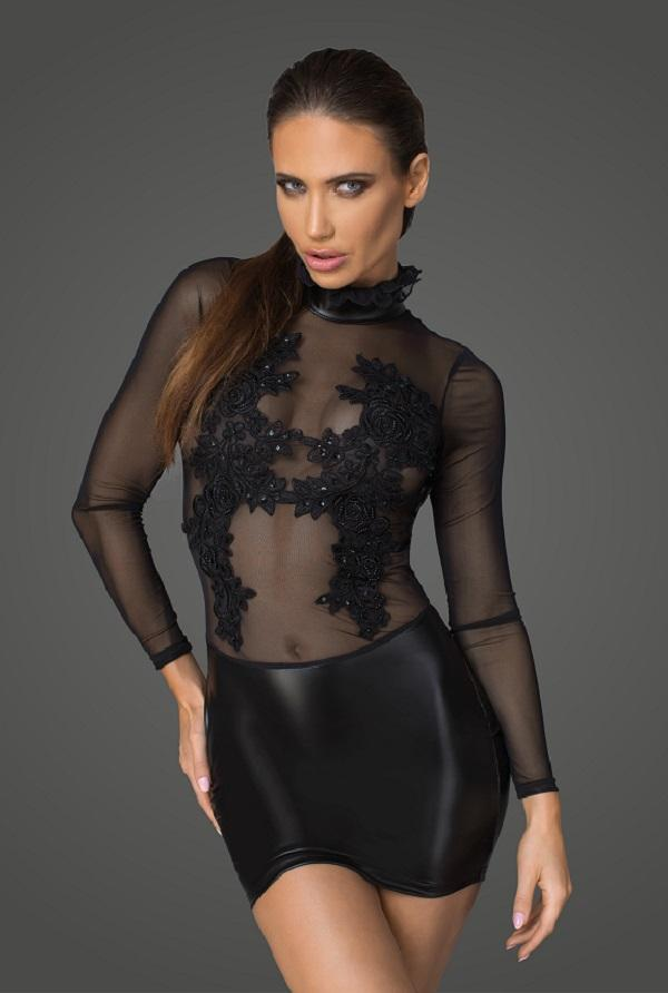 Long sleeved mesh and wet-look dress