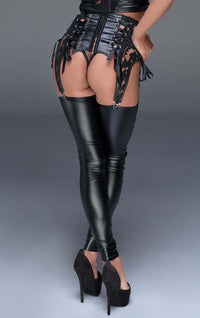 Lace up wet-look stockings F145