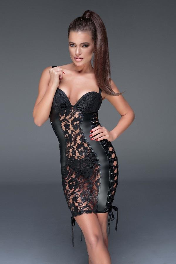 Lace and wet-look mini-dress F146