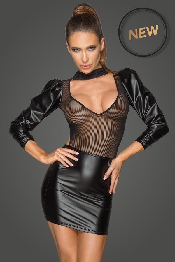 Wet-Look and mesh dress F201