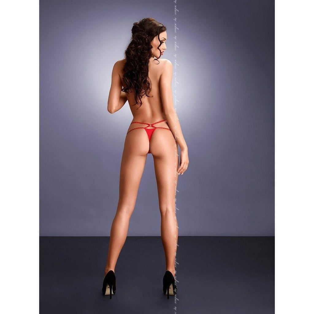 Strappy red thong panty - Flirtywomen
