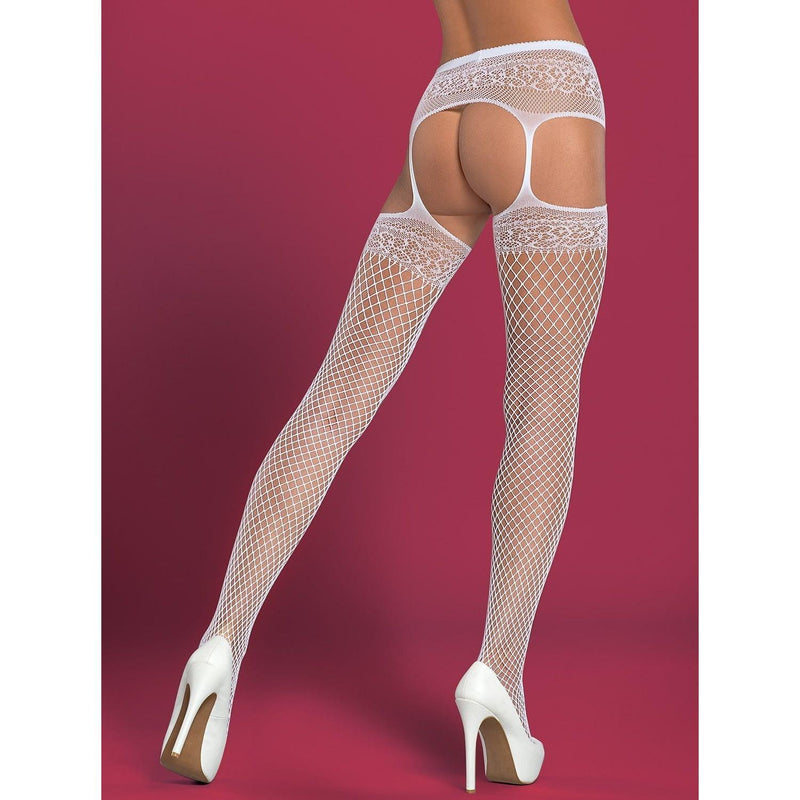 White open crotch garter-belt stockings - Flirtywomen