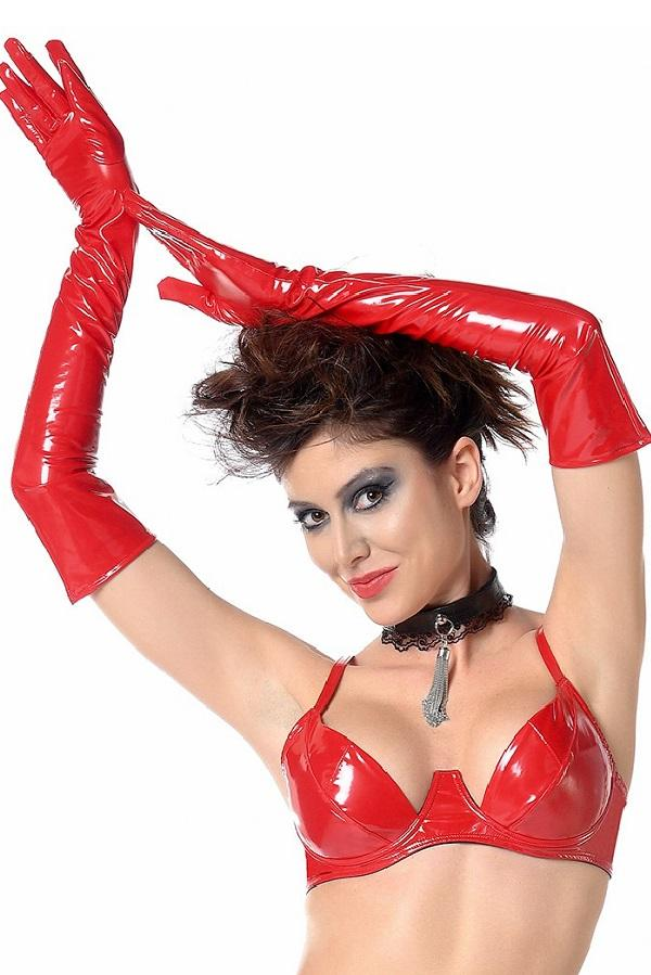 Long Red Vinyl Gloves