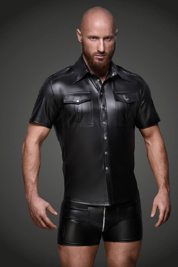 Men`s Eco-leather shirt with front pockets
