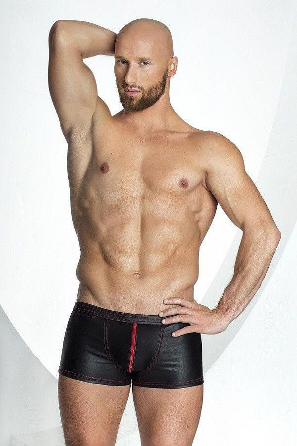 Extravagant Men`s leather look shorts with red zipper