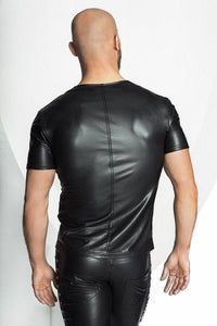 Men`s wet-look  T-Shirt with sexy stripes