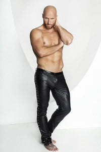 Men`s Wet Look Trousers with Studs