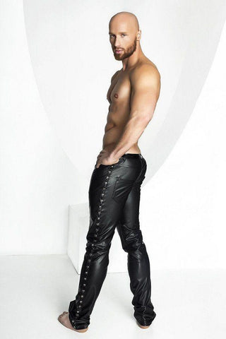Men`s Wet Look Trousers with Studs for <span class=money>€79.95 EUR</span> at Flirtywomen