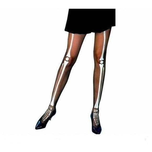 Halloween tights with skeleton print for <span class=money>€6.95 EUR</span> at Flirtywomen