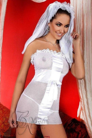 Bridal nightdress with veil and thong for <span class=money>€29.95 EUR</span> at Flirtywomen