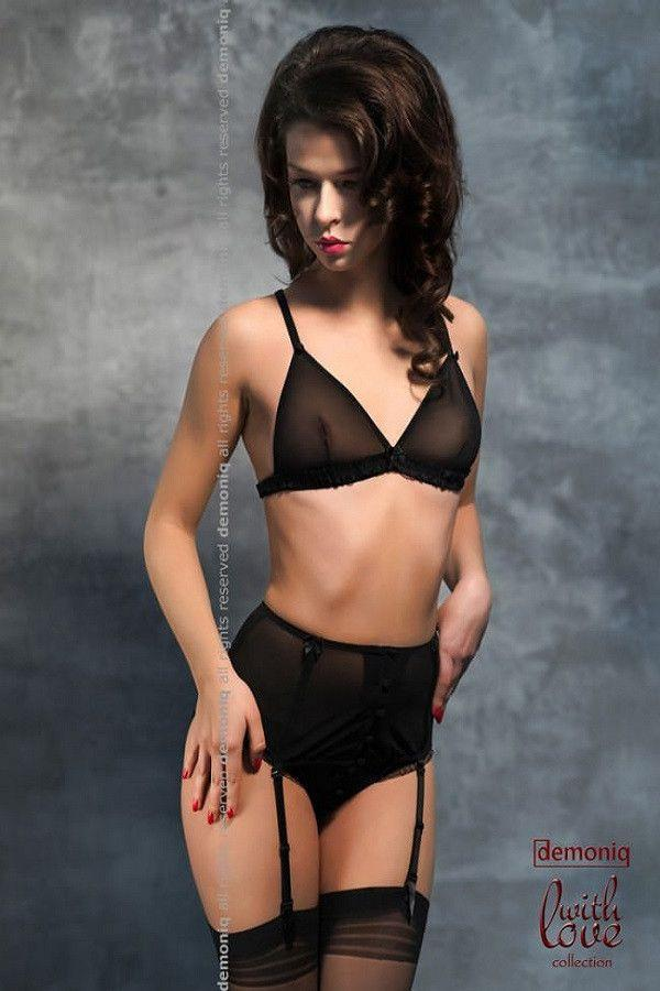 Black lingerie bra, garter-belt and brief panty