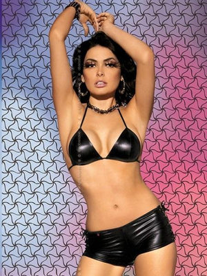 Black Metallic Bra And Hot Pants Set