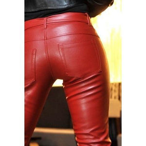 Eco leather red jeans - Flirtywomen