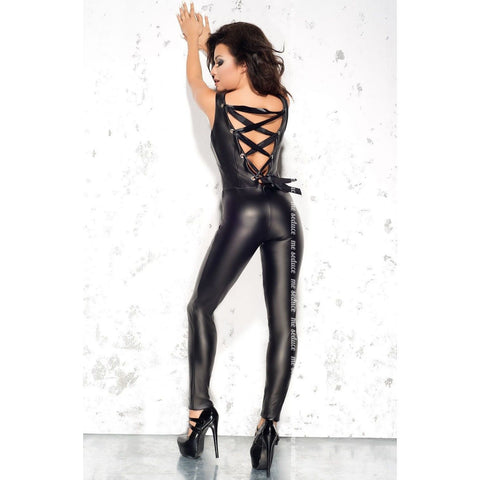 Wet look black jumpsuit Doris - Flirtywomen