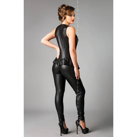 Wet look black jumpsuit with zipper front - Flirtywomen