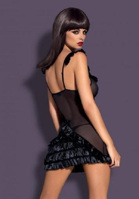 Alluring black chemise sheer nightdress