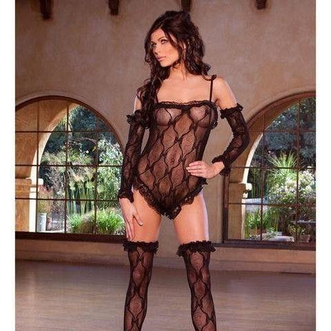 Lace Teddy, Gloves and Stockings - Flirtywomen