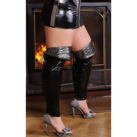 Lace up back latex footless stockings for <span class=money>€19.95 EUR</span> at Flirtywomen