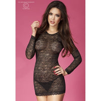 Black lingerie long sleeve dress - Flirtywomen