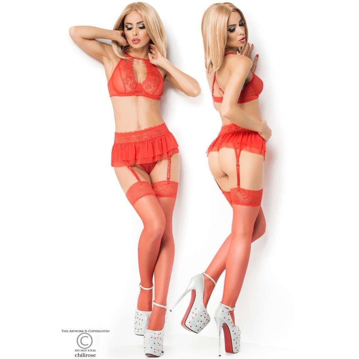 Red lingerie bra, g-string and garter-belt for <span class=money>€22.95 EUR</span> at Flirtywomen