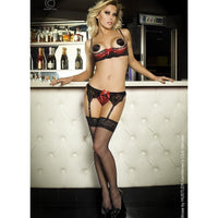 Bra, G-string and Garter belt set - Flirtywomen