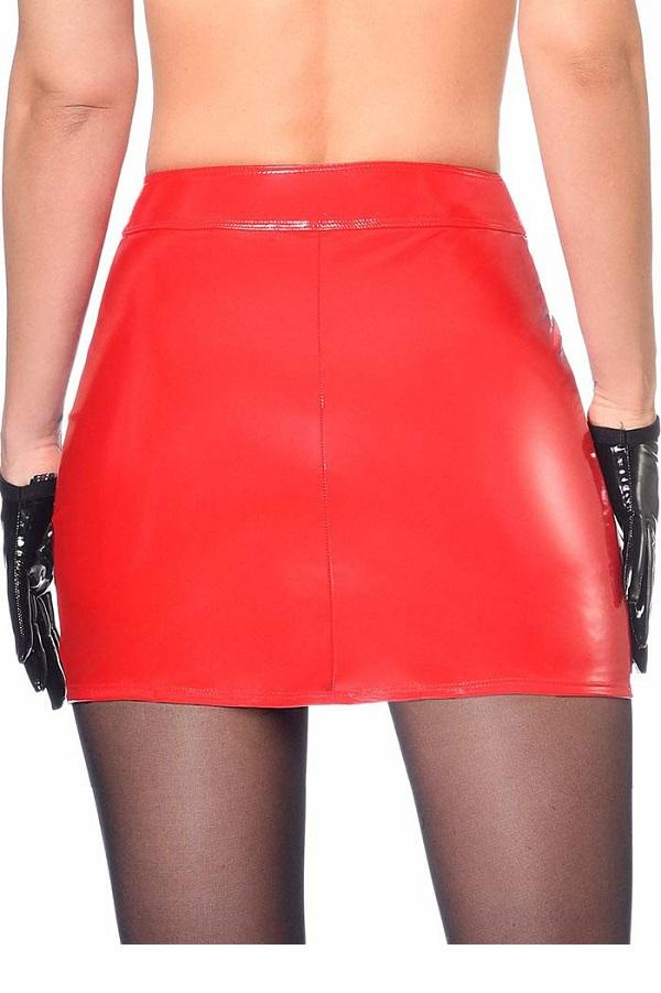 Red Vinyl Mini Skirt Livinia