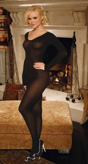 Long Sleeve Opaque Body Stocking - Long Sleeve Opaque Body Stocking