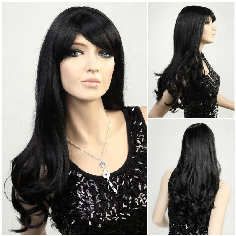 Long wavy black wig - Flirtywomen