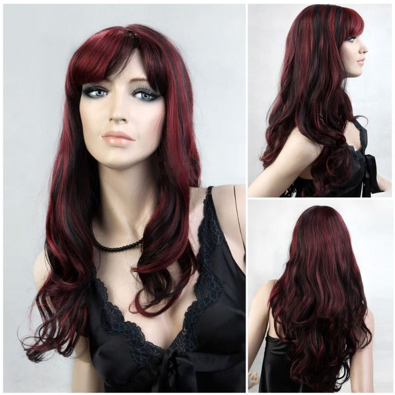 Long wavy Maroon and black two tone wig - Flirtywomen