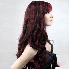 Long wavy Maroon and black two tone wig for <span class=money>€29.95 EUR</span> at Flirtywomen