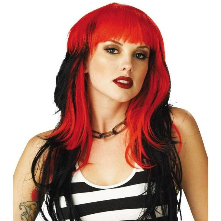 Long wig red and black - Flirtywomen