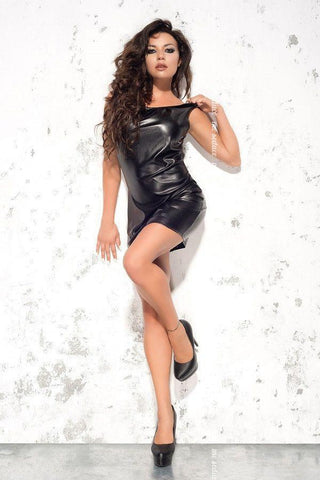 Leatherette black party dress