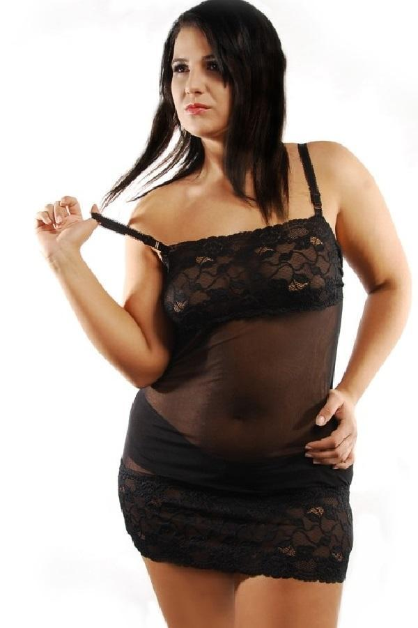 Black plus size nightdress Lunea