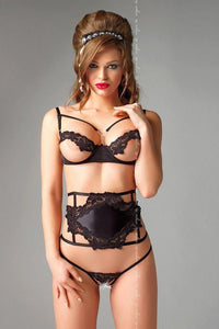 Open bust bra, semi-corset and crotch-less thong