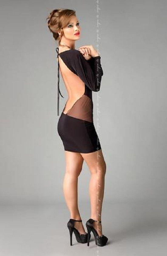 Black backless long sleeved dress