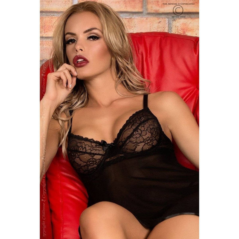 Black Babydoll nightdress and G-string - Flirtywomen