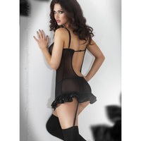 Black sheer nightdress with garter-straps - Flirtywomen