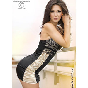 Lingerie nightdress black and gold - Flirtywomen
