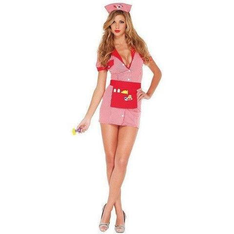 Candy striped fancy dress nurse costume for <span class=money>€29.95 EUR</span> at Flirtywomen
