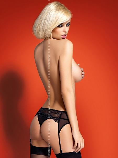 Black garter-belt with a thong