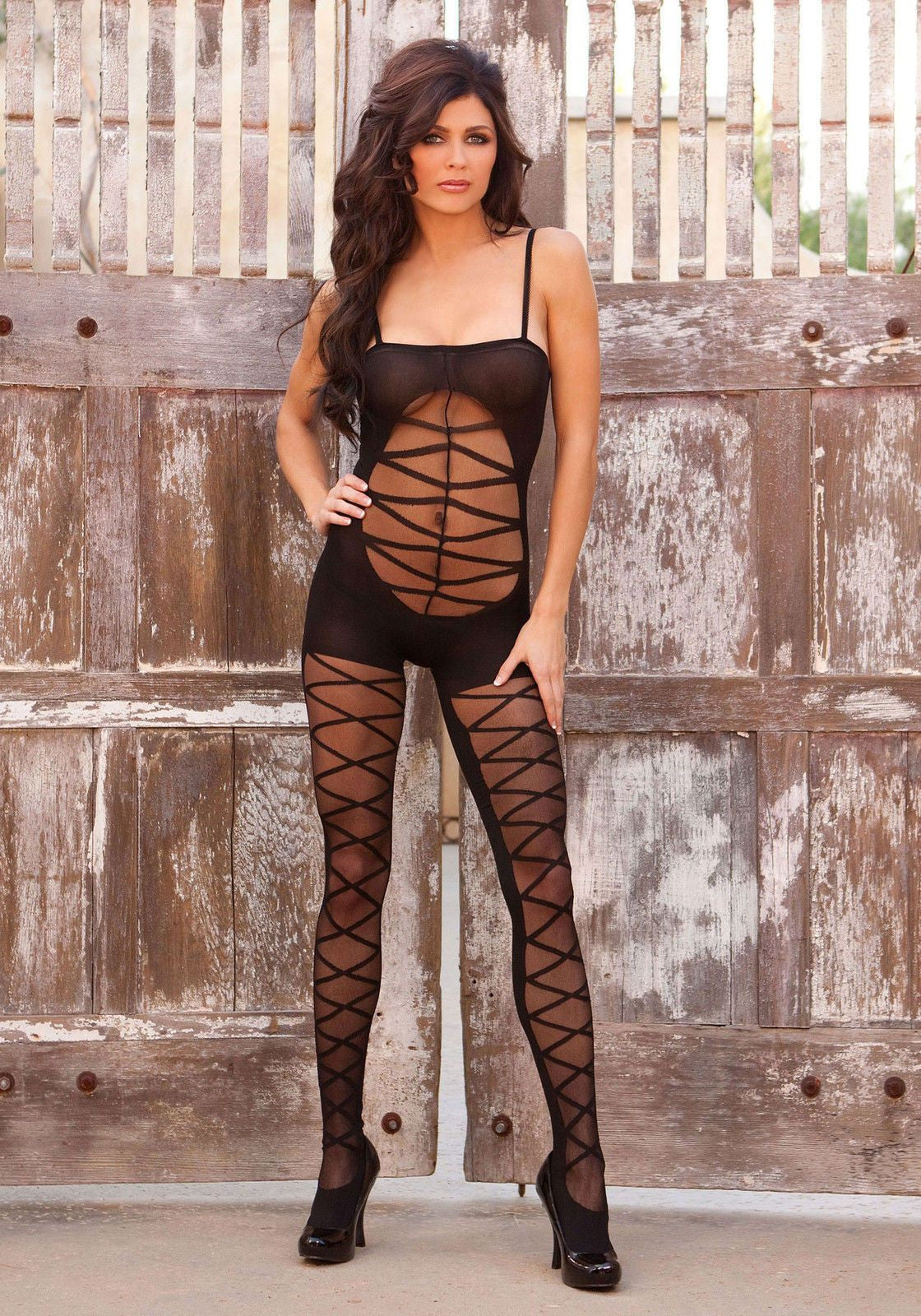 Opaque Criss Cross Bodystocking - Opaque Criss Cross Bodystocking