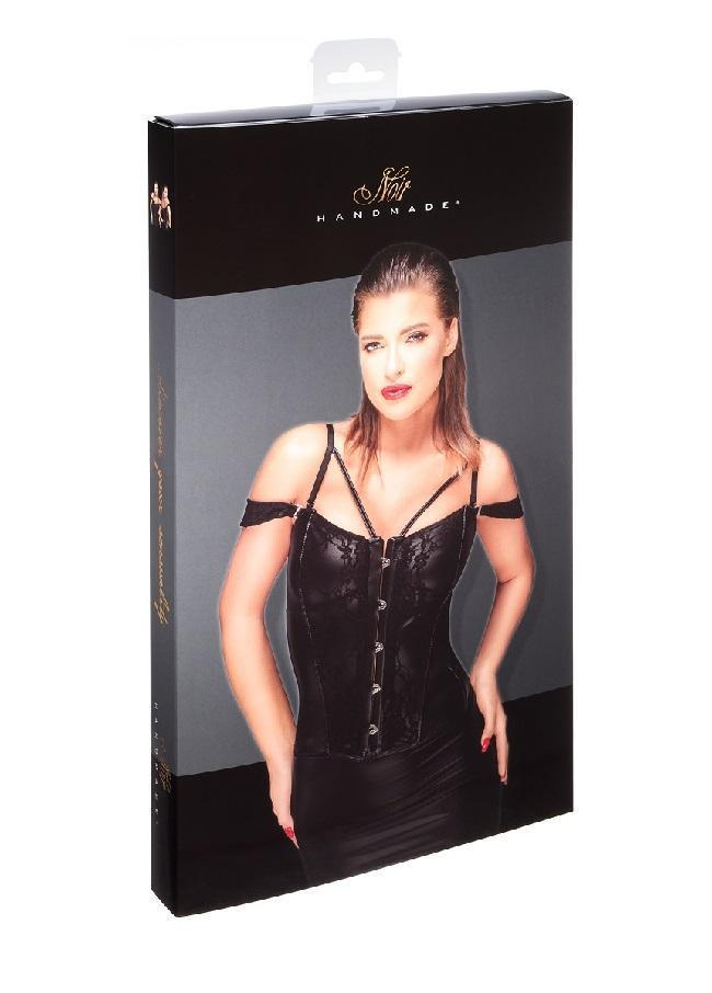 Lace and Wet-look Corset F159