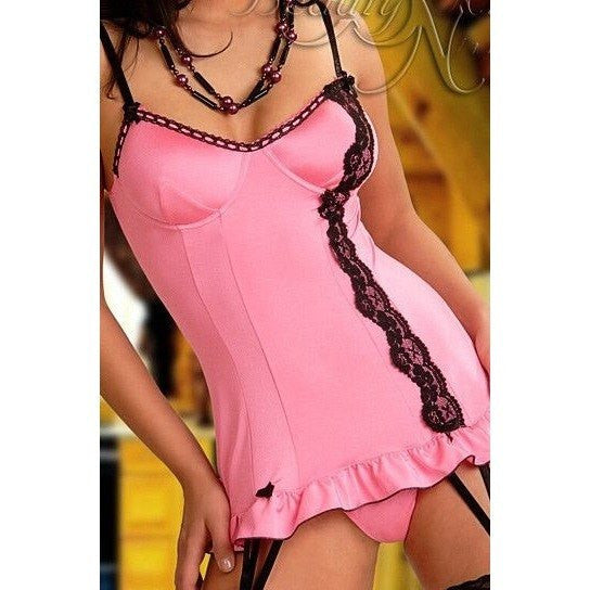 Pink Nightdress - Luscious Pink Nightdress With Suspender Straps