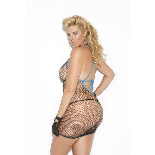 Plus Size Diamond Net Mini Dress - Plus Size Diamond Net Mini Dress