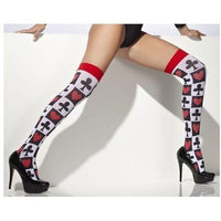Poker Pattern Thigh High Stockings - Flirtywomen
