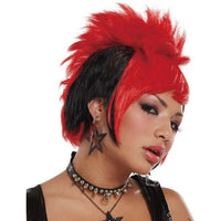 Stylish punky girl wig red and black - Flirtywomen