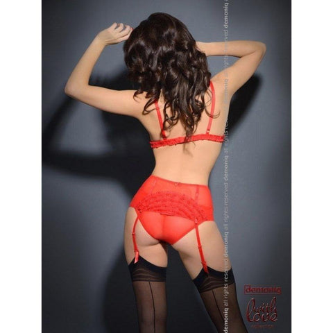 Red lingerie bra, garter-belt and brief panty for <span class=money>€24.95 EUR</span> at Flirtywomen
