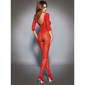 Red long sleeve bodystocking - Flirtywomen