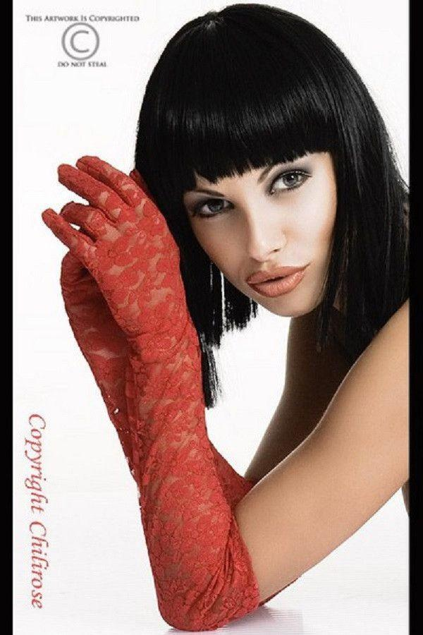 Red lace elbow gloves
